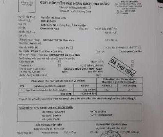 Chị Linh đã nộp 430 triệu đòng tiền chuyển mục đích đất 6 tháng nay nhưng vẫn không được nhận giấy chứng nhận quyền sử dụng đất