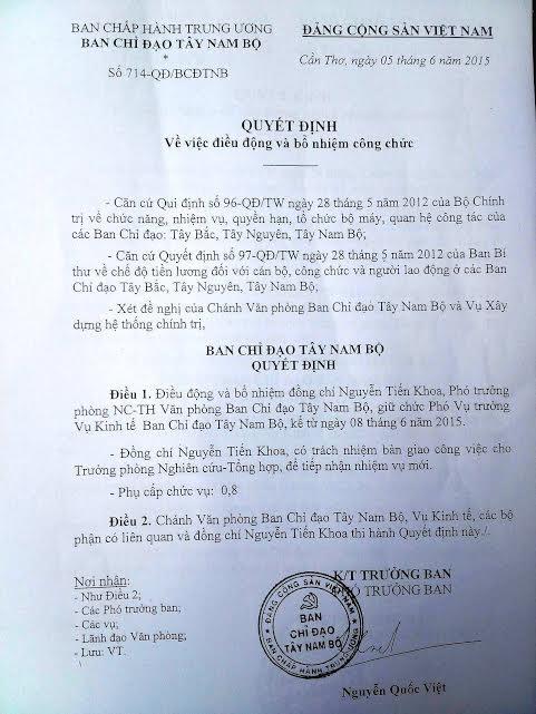 Sau khi công tác ở Ban chỉ đạo Tây Nam Bộ chưa lâu, ông Nguyễn Tiến Khoa được bổ nhiệm giữ chức phó vụ trưởng Vụ Kinh tế - Ban Chỉ đạo Tây Nam Bộ