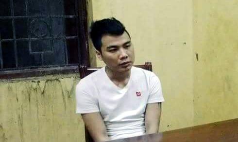 Trịnh Ngọc Tuấn tại trụ sở công an.