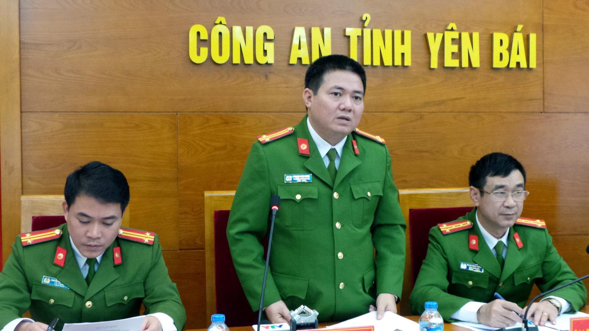 Trung tá Phạm Anh Sơn, Phó Thủ trưởng Cơ quan Cảnh sát điều tra - Công an tỉnh Yên Bái, thông báo kết luận điều tra vụ Bí thư, Chủ tịch HĐND tỉnh bị sát hại.