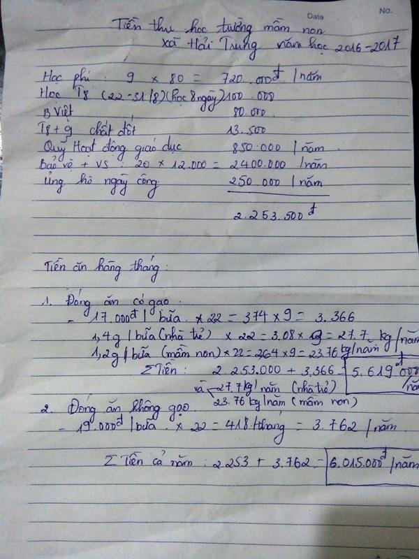 """Khoản thu """"khổng lồ"""" ở Trường mầm non xã Hải Trung, Hải Hậu, Nam Định"""