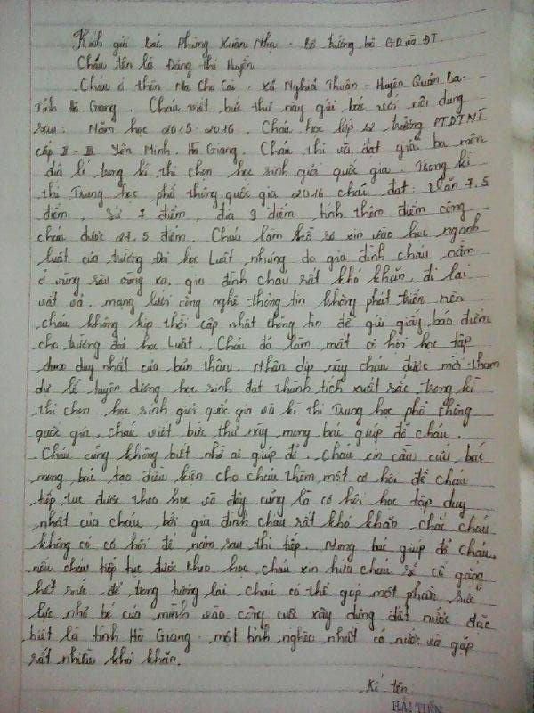 Bức thư kêu cứu gửi Bộ Trưởng Nhạ được Huyền gửi đến báo chí (ảnh: Dân Việt)