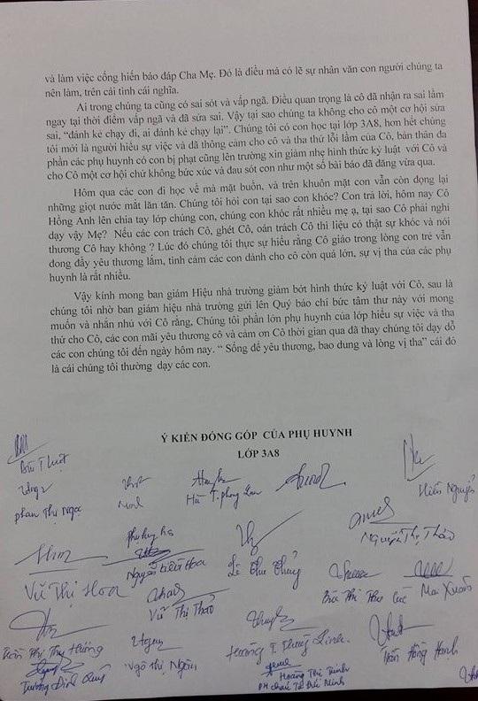 Phụ huynh kí tên vào bức thư xin giảm kỉ luật cho cô giáo Hồng Anh