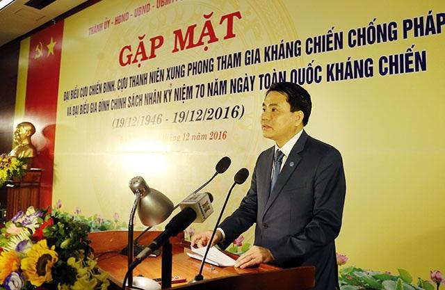 Chủ tịch UBND TP Hà Nội Nguyễn Đức Chung phát biểu tại buổi gặp mặt