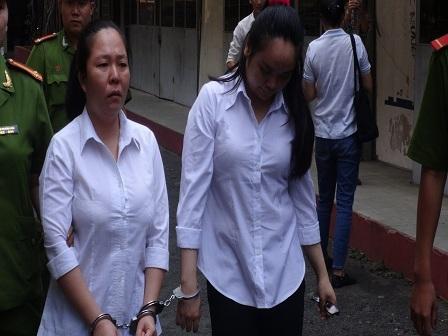 Bị cáo Tâm và Nhung tại phiên tòa sơ thẩm
