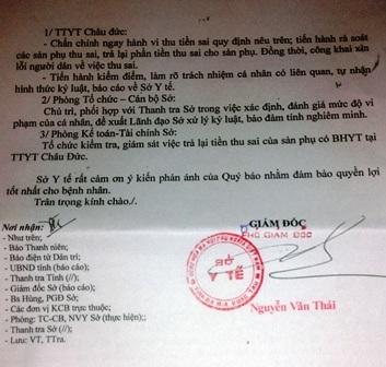 Bảng kê chi tiết mà sản phụ Xuân phải trả tiền cho trung tâm y tế huyện Châu Đức