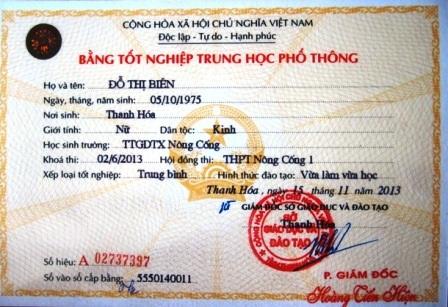 Bằng tốt nghiệp THPT của bà Biên có sau bằng tốt nghiệp Trung cấp chính trị.