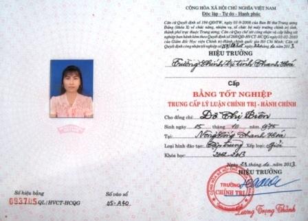 Tại thời điểm học Trung cấp chính trị, bà Biên chưa có bằng tốt nghiệp THPT.