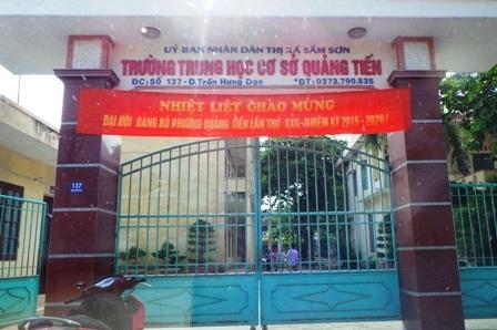Trường THCS Quảng Tiến, nơi em L đang theo học.