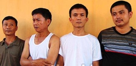4 đối tượng (từ trái qua phải): Trịnh Duy Mỹ, Trần Văn Điền, Trần Quốc Đông, Lương Bá Diệu.