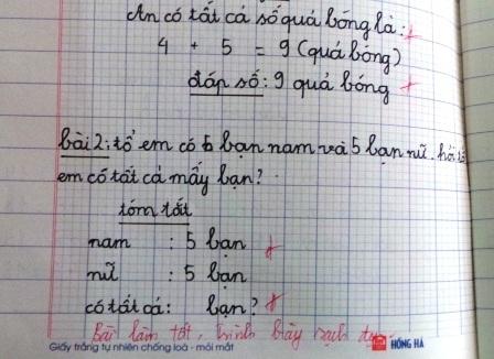 Việc cho điểm được thay thế bằng nhận xét vào vở học sinh.
