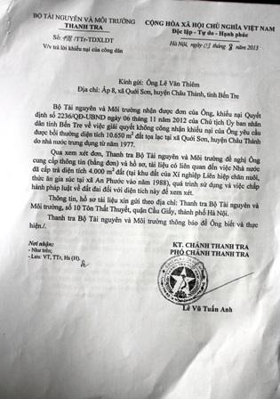 Văn bản hướng dẫn bổ sung hồ sơ của Thanh tra Bộ TNMT