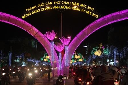 Đèn hoa nghệ thuật ở đường 30 tháng 4 (Ảnh: Minh Giang)