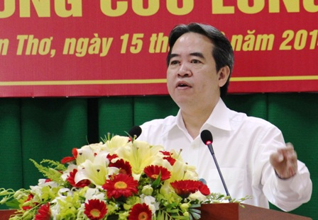 Thống đốc Ngân hàng Nhà nước Nguyễn Văn Bình phát biểu tại hội nghị