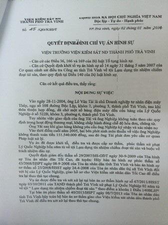 Quyết định đình chỉ vụ án hình sự của VKSND TP Trà Vinh