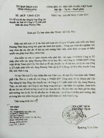 Công văn 1057 của UBND tỉnh Vĩnh Long