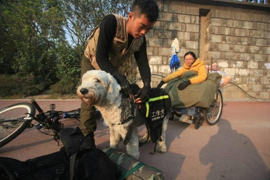 Phương tiện di chuyển của cặp đôi gồm xe đạp, xe lăn và một chú chó dẫn đường