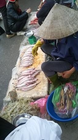 Những sản vật tươi rói được bày bán khắp nơi trong chợ.