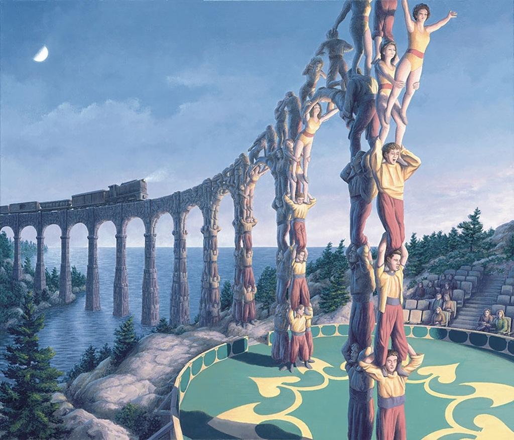Không gian sân khấu xiếc như hòa làm một với cây cầu đưa đoàn tàu vượt sông