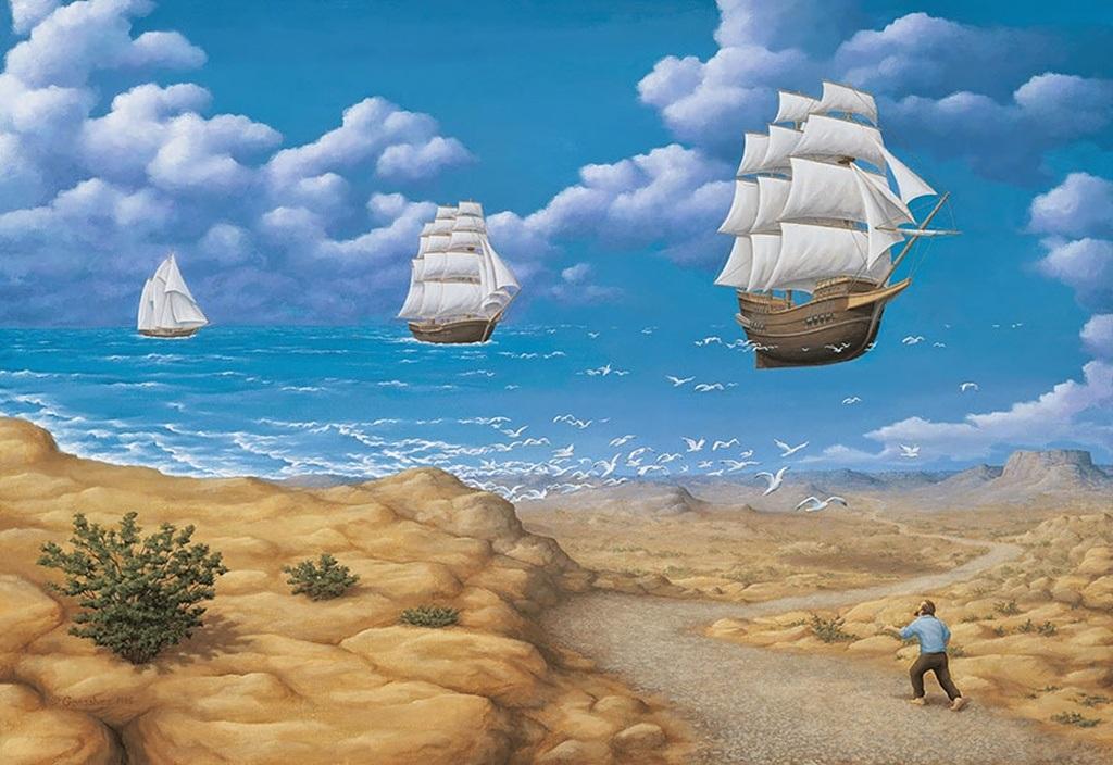 Cánh chim xen lẫn đợt sóng nhỏ tạo cảm giác con thuyền trôi mênh mông hư hư thực thực