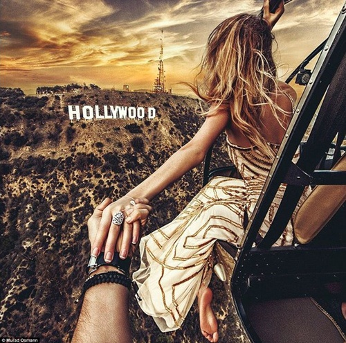 Hình ảnh cặp đôi trước đồi Hollywood nổi tiếng ở Mỹ.