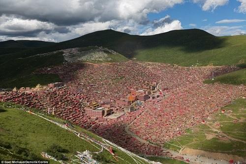 Học viện Phật giáo nhìn từ trên thung lũng.