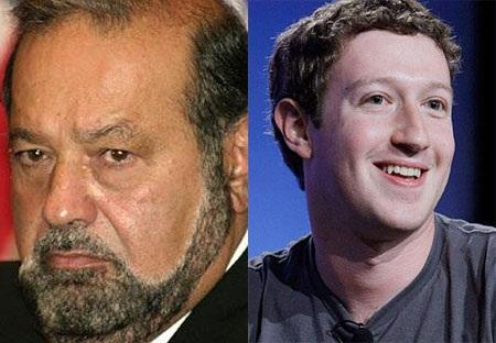 Tỷ phú Carlos Slim (trái) và tỷ phú Mark Zuckerberg - Ảnh: Telegraph, Topnews.