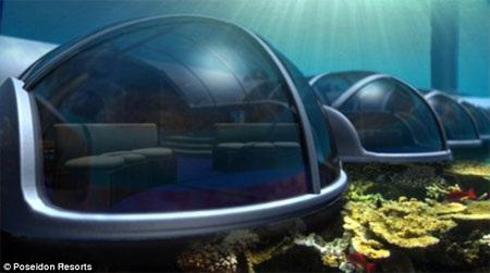 Từ trong khách sạn này, khách có thể thỏa sức ngắm vẻ đẹp của thế giới dưới nước.