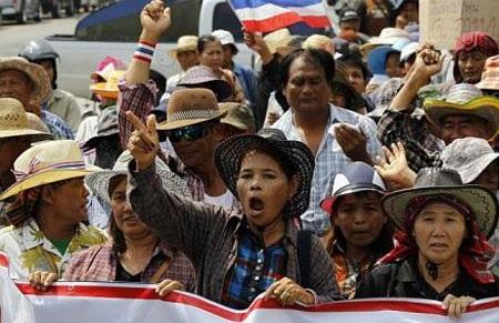 Nông dân Thái biểu tình đòi nợ bán lúa gạo cho Chính phủ.