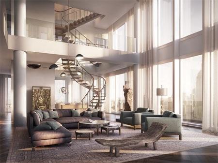 Trong nhà có cầu thang bộ xoắn ốc và một thang máy riêng.