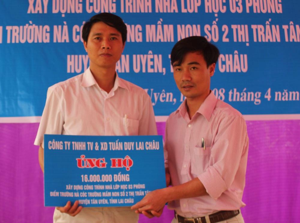 Công ty TNHH Tư vấn và Xây dựng Tuấn Duy Lai Châu ủng hộ 16 triệu đồng