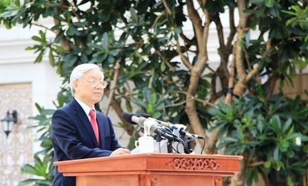 Tổng bí thư Nguyễn Phú Trọng phát biểu tại lễ khánh thành.