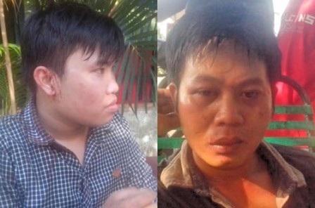 PV Linh Hoàng (trái) và Vĩnh Phú bị các đối tượng tấn công, cướp tài sản khi đang tác nghiệp.