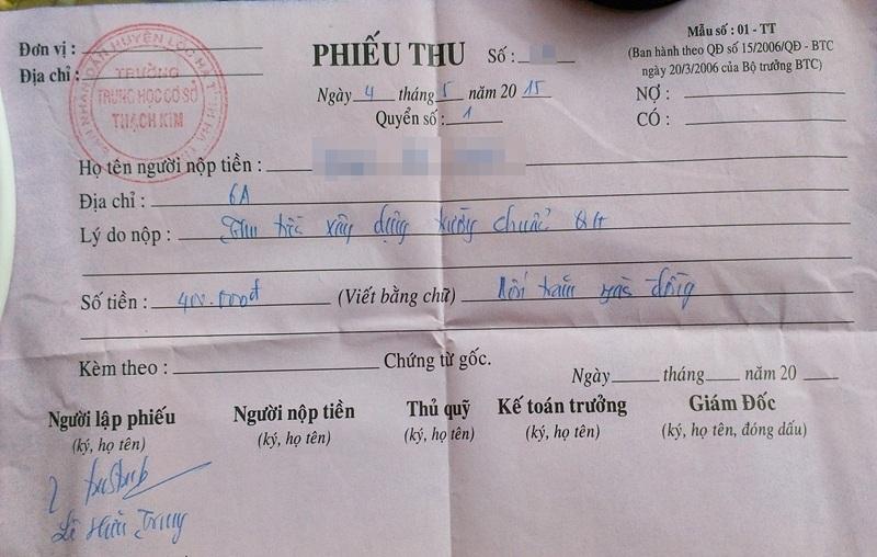 Phiếu thu tiền của học sinh trường THCS Thạch Kim