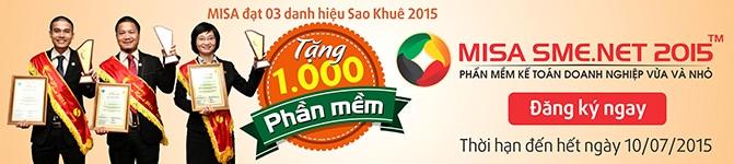 MISA tặng phần mềm MISA SME.NET 2015 cho 1000 doanh nghiệp mới khởi nghiệp