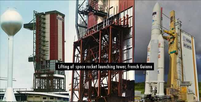 Khung giá đỡ tàu vũ trụ tại Guiana, Pháp.