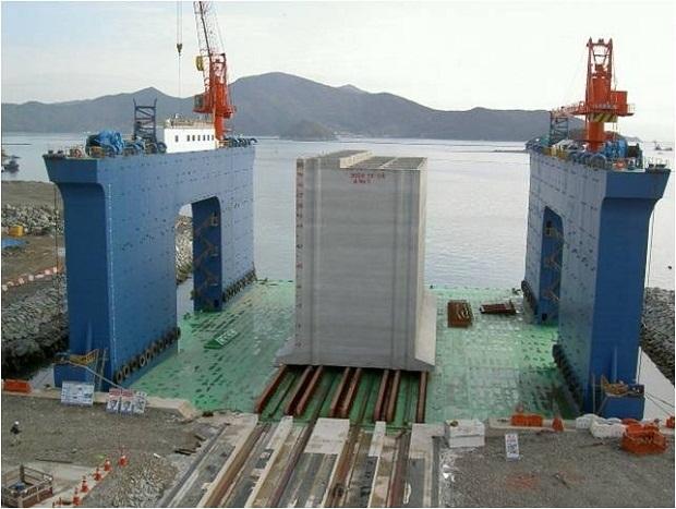 Đồ họa về Quy trình đúc thùng chìm xây dựng cảng nước sâu