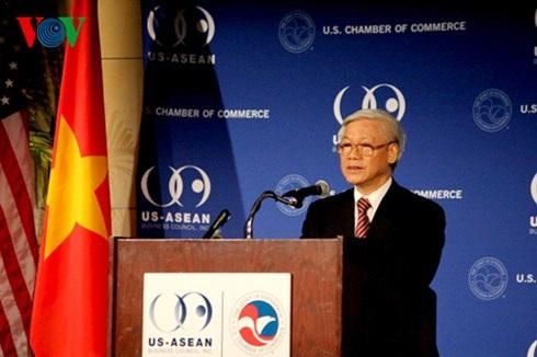 Tổng Bí thư Nguyễn Phú Trọng phát biểu với các doanh nghiệp Hoa Kỳ.