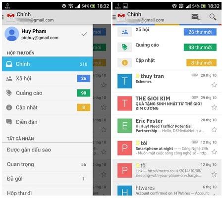 Giao diện ứng dụng Gmail cũ...