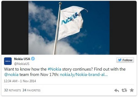 """Đoạn thông điệp trên Twitter Nokia chi nhánh tại Mỹ """"úp mở"""" về sự kiện đặc biệt ngày 17/11 của hãng"""
