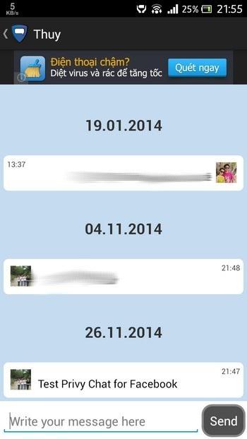 Đọc tin nhắn trên gửi đến trên Privy Chat for Facebook...