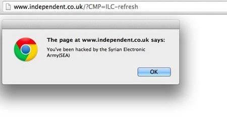 Một hộp thoại thông báo trang web đã bị hack khi ghé thăm tờ báo The Independent (Anh)