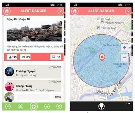 Giao diện ứng dụng cảnh báo VEAS hiển thị sự kiện trên bản đồ