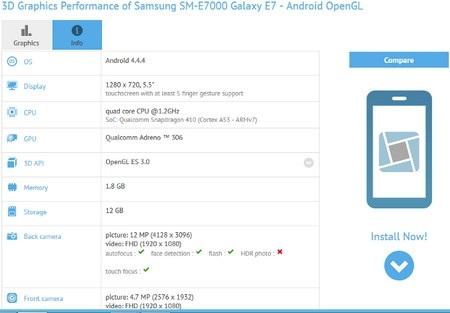 Thông tin cấu hình Galaxy E7 xuất hiện trê ứng dụng GFXBench