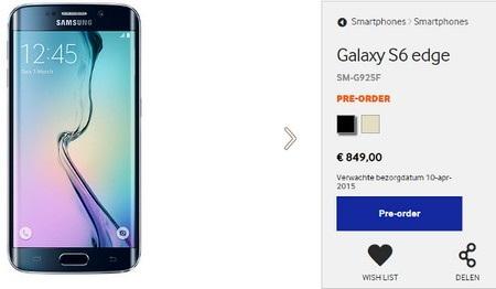 Mức giá đặt trước của Galaxy S6 Edge phiên bản 32GB tại Hà Lan