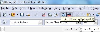 Nút kiểm tra lỗi chính tả trên menu của phần mềm