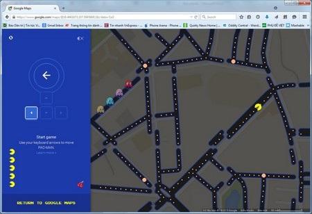 """Google biến bản đồ Maps thành trò chơi Pacman trong ngày """"cá tháng Tư"""""""