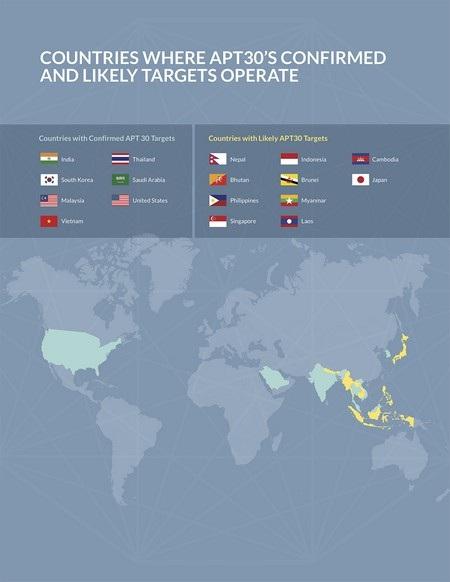Bản đồ các quốc gia mà APT30 nhắm đến, trong đó chủ yếu là khu vực Đông Nam Á