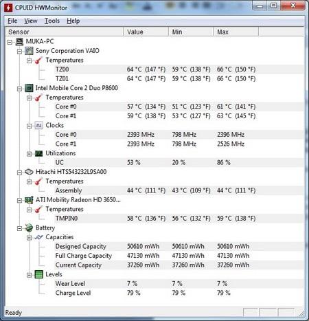 Thông tin nhiệt độ phần cứng trên máy tính