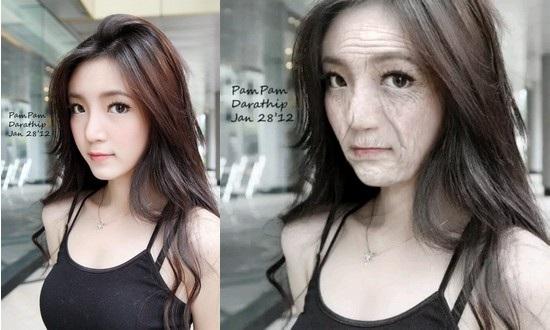 Hình ảnh gốc (trái) và gương mặt sau 60 năm nữa (phải)
